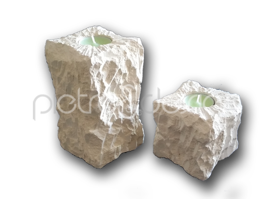 portacandele masso in pietra leccese